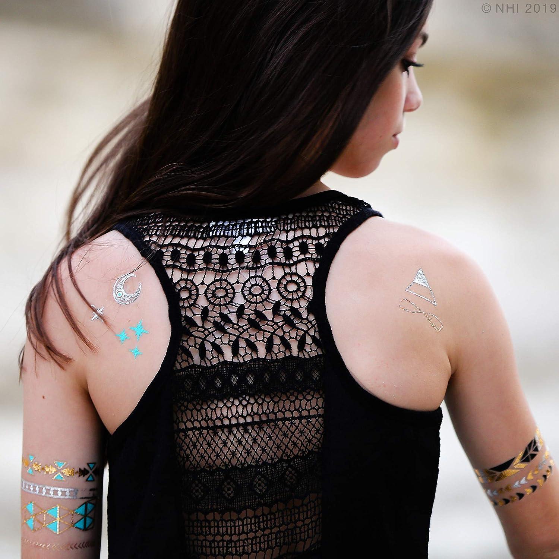 Metallic Tatuajes temporales 150 + Gold Tattoo Plata Tattoo Aztec ...