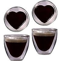 Feelino 2X 80ml doppelwandiges Herzform Espresso- und Schnapsglas