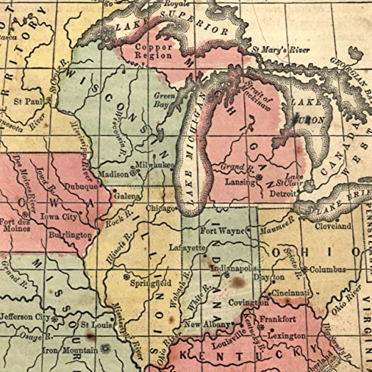 Amazon.com: Mid-west Great Lakes MN WI MI 1855 antique U.S. state ...