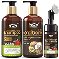 WOW Skin Science Apple Cider Vinegar Shampoo with WOW Skin Science Coconut & Avocado Hair Conditioner & WOW Skin Science Apple Cider Vinegar Face Wash with in-built brush Kit