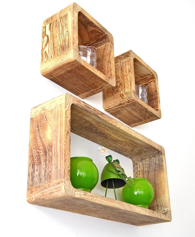 3er Set Lounge Cube Regal Landhaus Stil Wandregal Retro Hängeregal