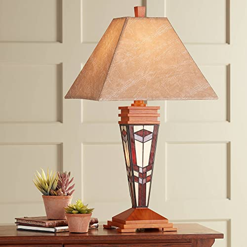 Mission Table Lamp with Nightlight Tiffany Style Base Faux Leather Shade for Living Room Family Bedroom – Robert Louis Tiffany