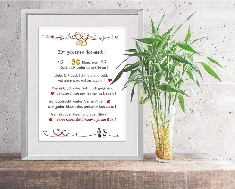 Goldene Hochzeit personalisierter Kunstdruck als Gl/ückwunsch und Geschenk zur goldenen Hochzeit 24 x 30 cm mit Passepartout ohne Rahmen liebevoll gestalteter
