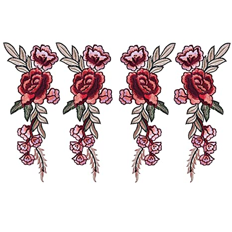 BBTO 4 Piezas Parches Bordado Apliques Parches de Flores Parches Termoadhesivos Parches Floral de Peonía de. Pasa ...