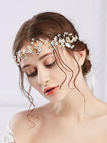 Amazon.com   Missgrace Bridal Crystal Headband Hair Vine Wedding Hair  Accessories-Rhinestone Women Hair Jewelry Wedding Headdress   Everything  Else 3e13570233a