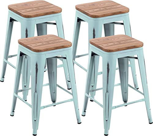 YOUNIKE Metal Bar Stools 24 Inches Set of 4 Stackable