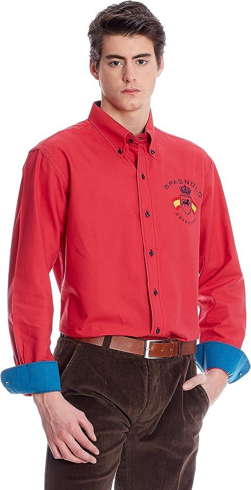 Spagnolo Camisa Hombre Rojo XL: Amazon.es: Ropa y accesorios