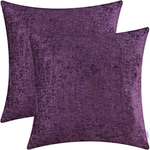 CaliTime Pack of 2 Cozy Throw Pillow Covers Cases for Couch Sofa Home Decoration Solid Dyed Soft Chenille 18 X 18 Inches Plum Purple