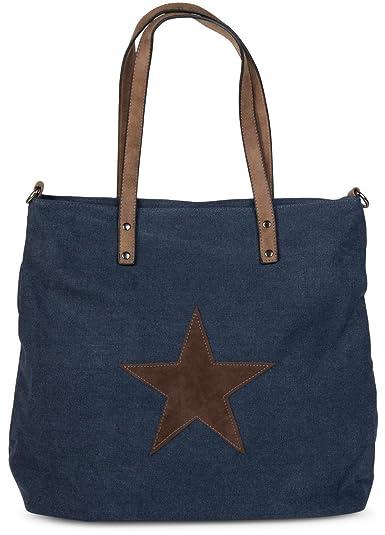 93758e06a7814 styleBREAKER Canvas Shopper Handtasche mit aufgenähtem Stern ...