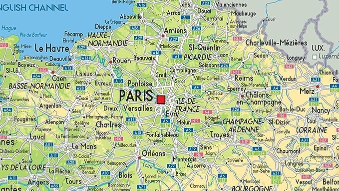 Cartina Stradale Francia Del Nord.Cartina Della Francia Tourist E Route Planning Mappa Fisica