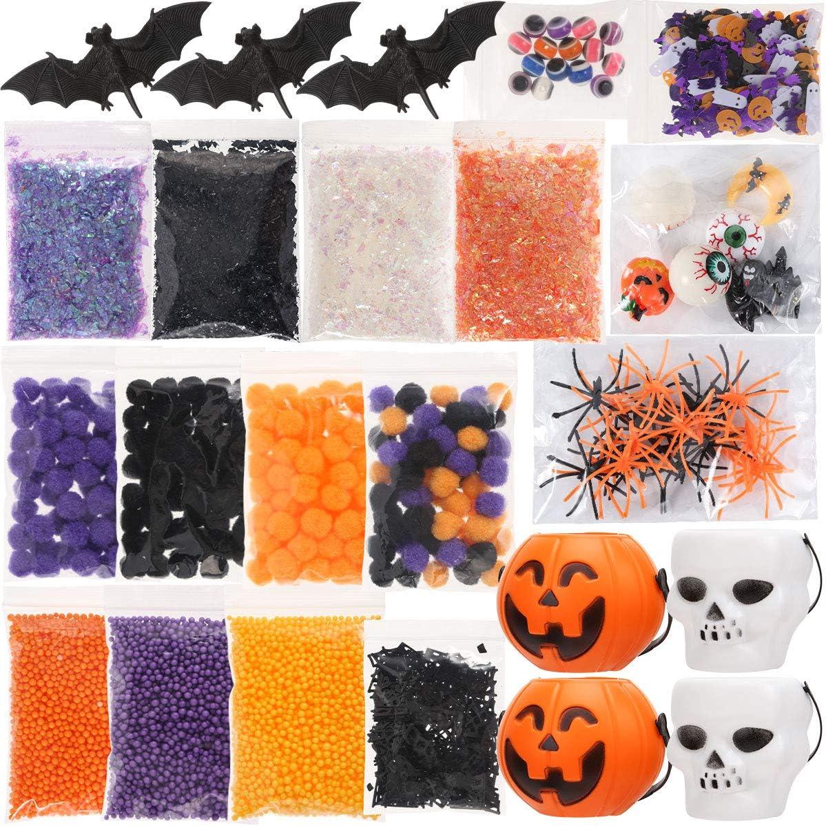 Luclay Slime Kit de Suministros de Halloween, Kit de Limo Esponjoso de Bricolaje, Juego de Limo de Cristal para niñas, niños, Juguetes, Accesorios para Manualidades artísticas para niños
