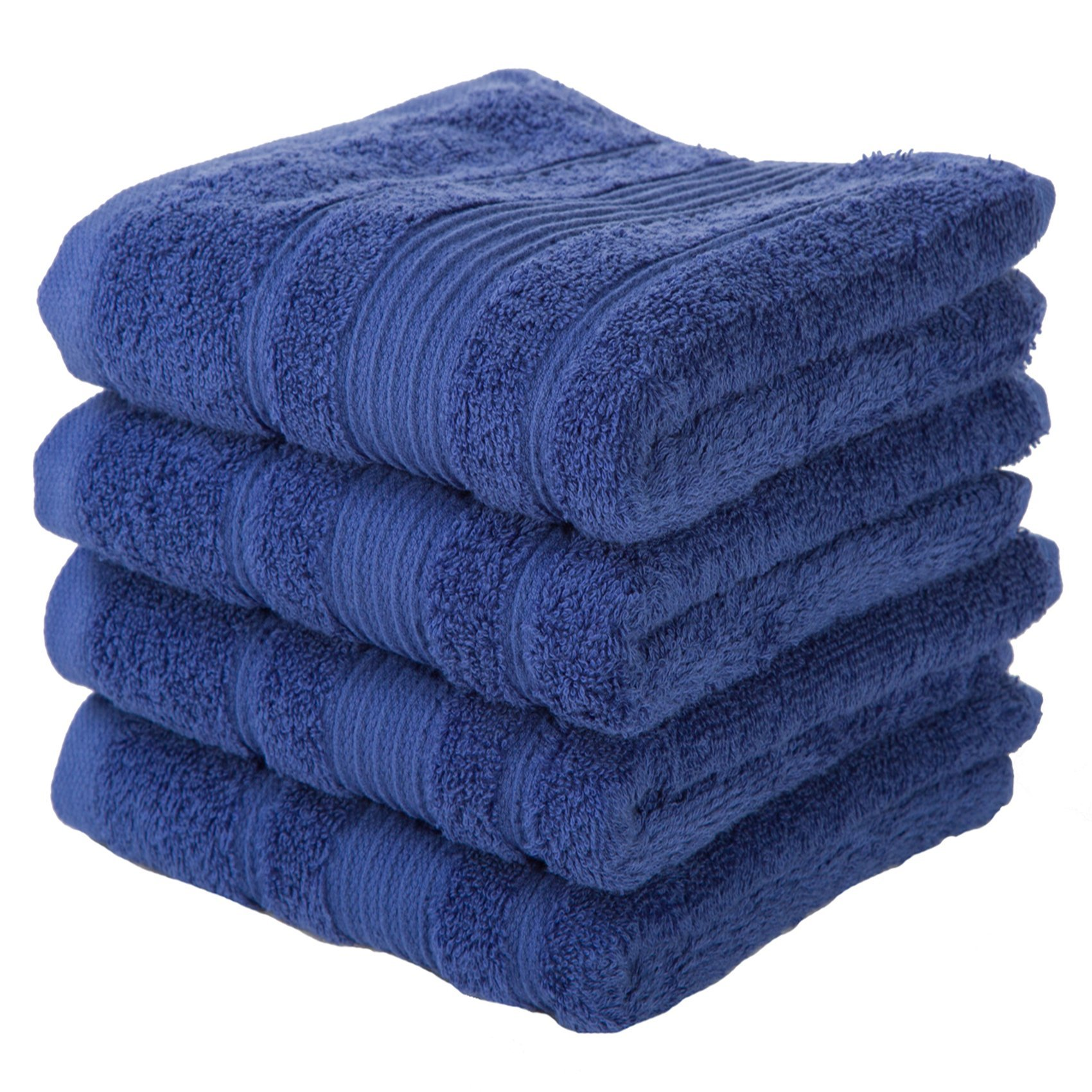 4 PACK Hand Towels Set | Premium Quality Luxury Turkish Cotton Absorbent AND Super Soft - NAVY BLUE