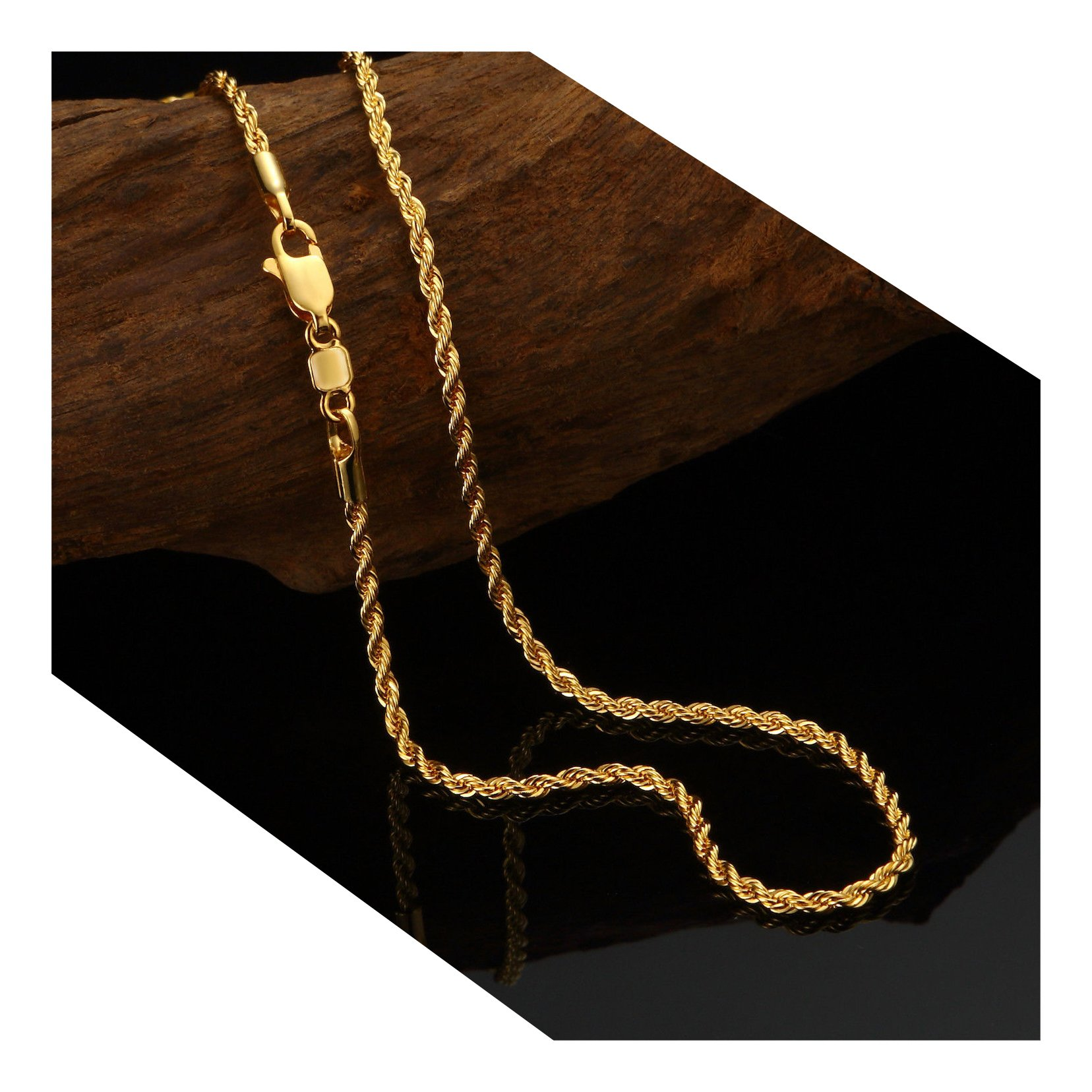 24k Yellow Gold Filled Men's 3MM Rope Chain Necklace Gold jewelry chain 24K yellow gold chain (24, Necklace)