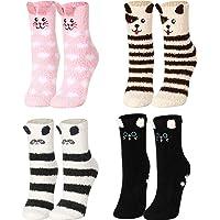 4 Pairs Women Fuzzy Socks Non-Slip Microfiber Winter Warm Socks Fluffy Soft Cute Animal Home Slipper Socks for Women…