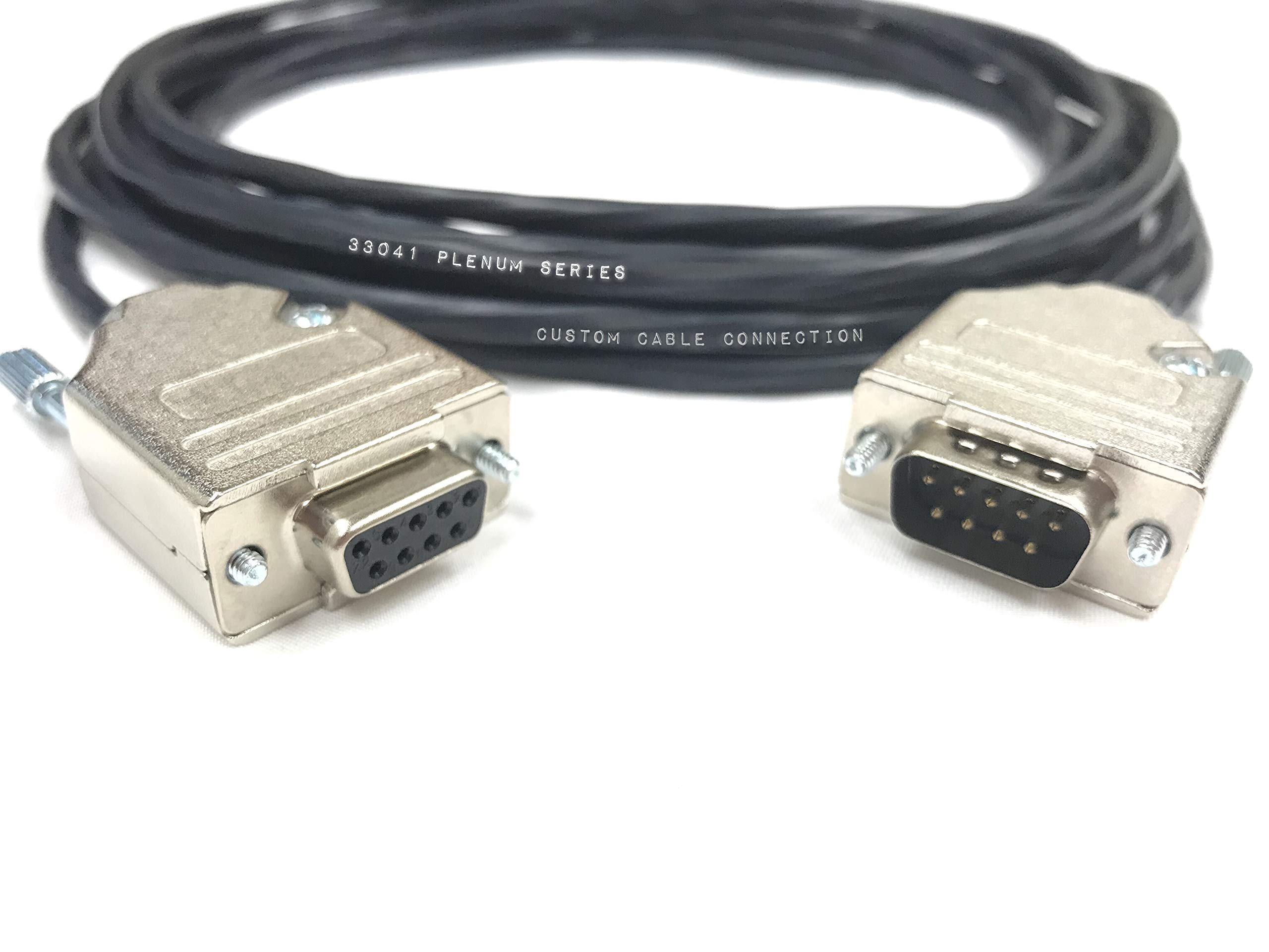 200 Foot DB9 Male to Female RS232 Extension Serial Cable - 22 AWG with Plenum Black Jacket - Made in USA by Custom Cable Connection