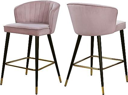 Super Amazon Com Meridian Furniture Cassie Pink Velvet Stool Set Cjindustries Chair Design For Home Cjindustriesco