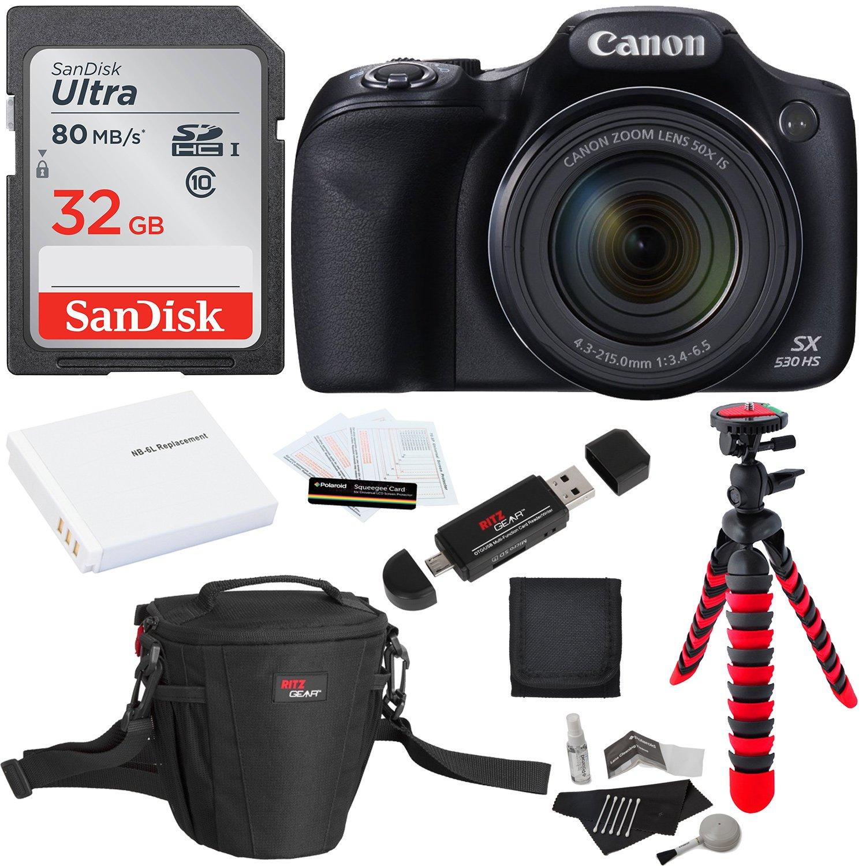 Canon PowerShot SX530 HS + SDHC 16GB + Tripod + Ritz Gear Bag + Battery + Ritz Gear Card Reader + Cleaning Kit + Screen Protector + Polaroid Memory Card Wallet
