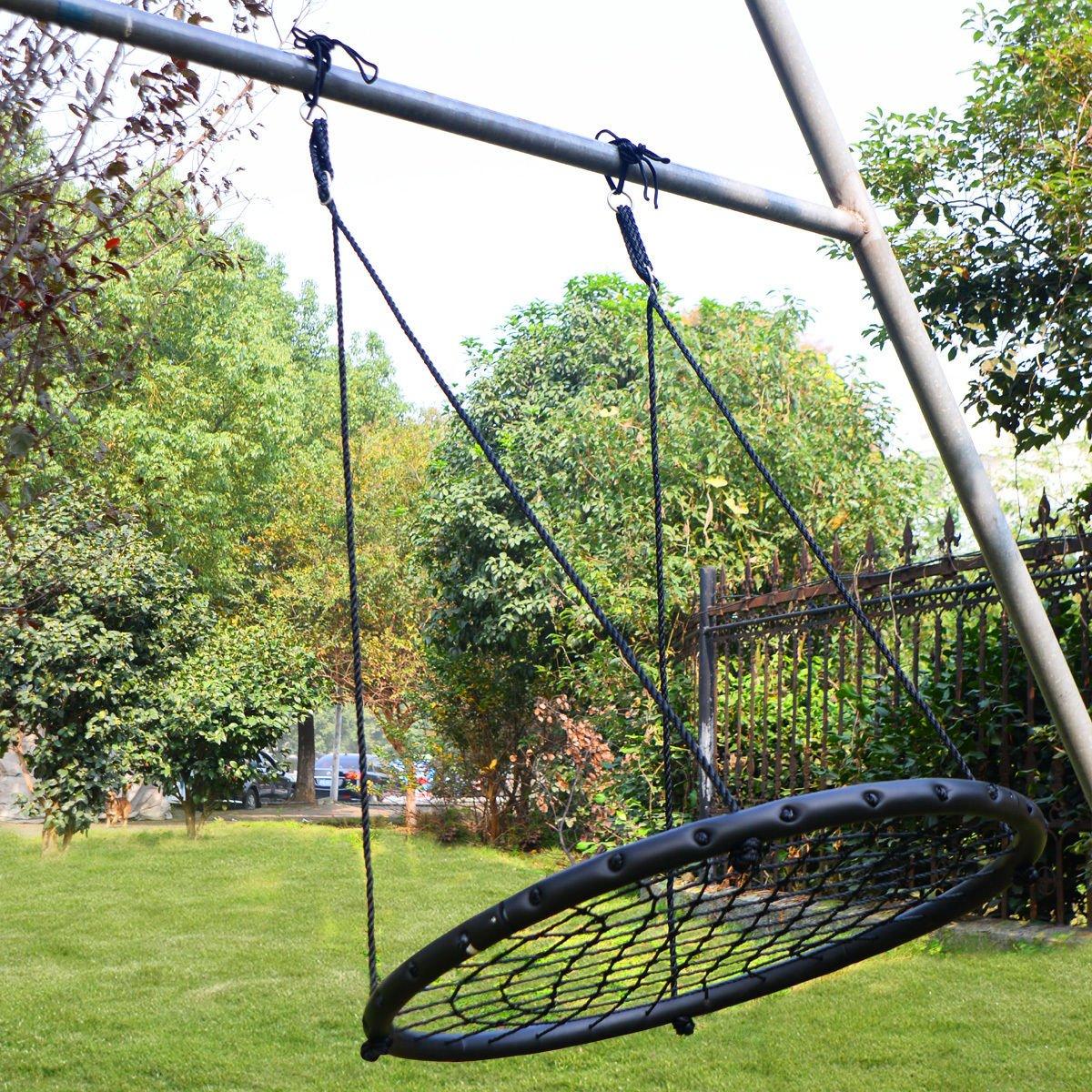 Platform Tree Spider Web Swing Kid Mesh 220 LBS 40'' Wide Hook Hanger Black Standard Web Hangers - House Deals by House Deals (Image #3)