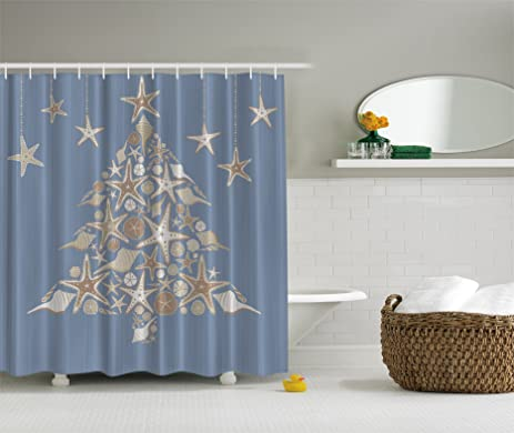 Blue White Seashell Beach Christmas Holiday Tree Fabric Shower Curtain By  Ambesonne