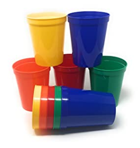 CSBD 10 Pack Blank 16 oz Plastic Stadium Cups Bulk - Made In USA, Reusable or Disposable, Great For Customization, Monograms, Marketing, DIY Projects, Weddings, Parties, Events (10, Kids Cups)