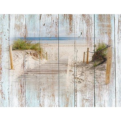 Papel Pintado Fotográfico Aspecto de madera de la playa 352 x 250 cm Tipo Fleece no