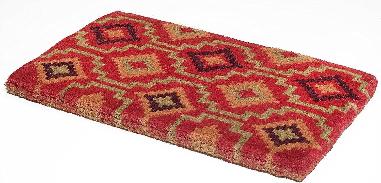 Handwoven, Extra Thick Doormat | Durable Coir, Easy Clean, Stylish | Entryway Door mat for Patio, Front Door | Decorative All-Season | Lhasa Kilim | 18