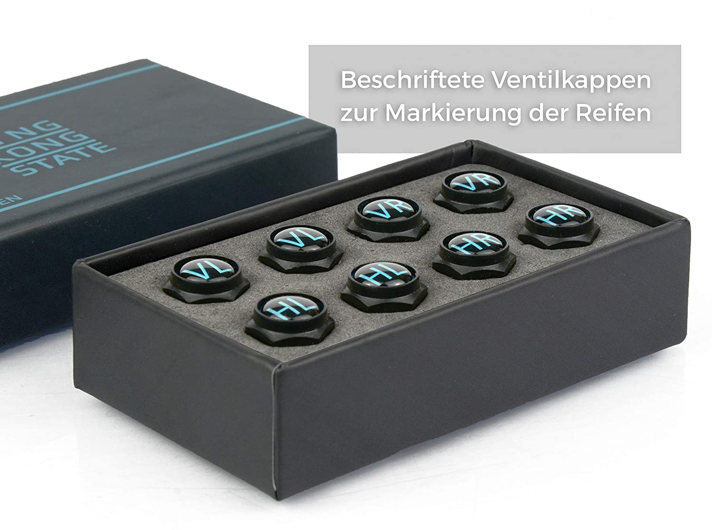 beschriftete Auto-Ventilkappen mit Dichtung rostfreies ABS-Material King Kong State /® Ventilkappen schwarz