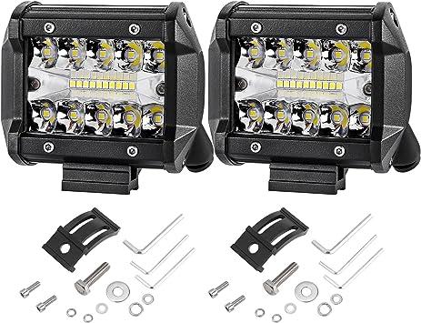 Moso LED 2 Pcs 4 114W Triple Row LED Side Shooter Led Combo Beam OSRAM Driving Lights Fog Lights Led Cubes Work Light for Trucks UTV SUV ATVs Car Boats Marine Led Pods Lights