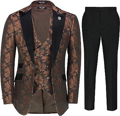 Traje de novio para hombre de 3 piezas de traje de boda clásico de cachemira ajuste a medida chaqueta de esmoquin chaleco pantalones: Amazon.es: Ropa y accesorios