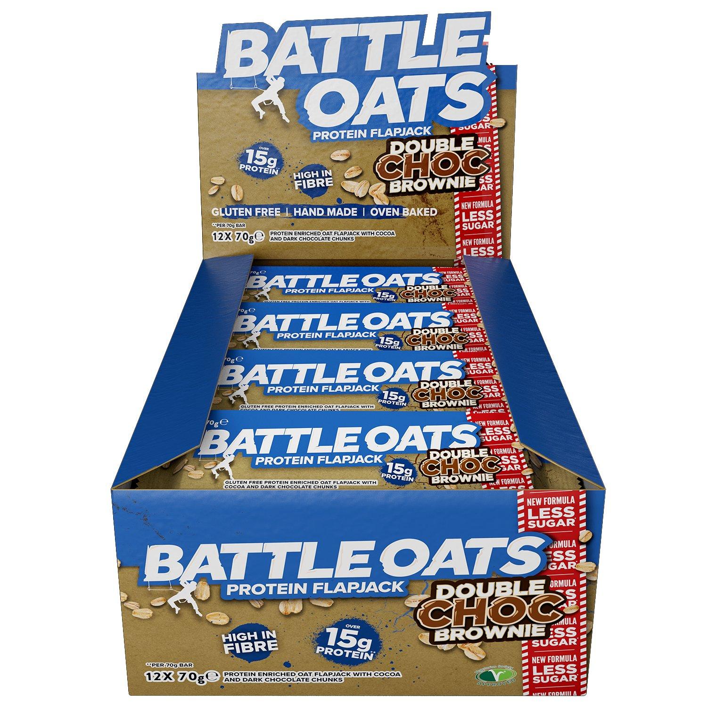 Battle Oats High Protein Gluten Free Flapjacks Bar New Low Ql Eyebrow Cream 15gr Sugar Formula 12 X 70g Double Chocolate Brownie Health Personal Care