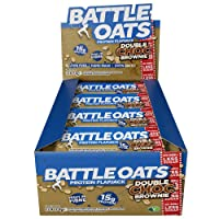 Battle Oats High Protein Gluten Free Flapjacks Protein Bar, New Low Sugar Formula, 12 x 70g - Double Chocolate Brownie