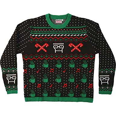 knit sweater descendents hot cocoa tunes ugly sweater crewneck sweatshirt size l - Descendents Christmas Sweater