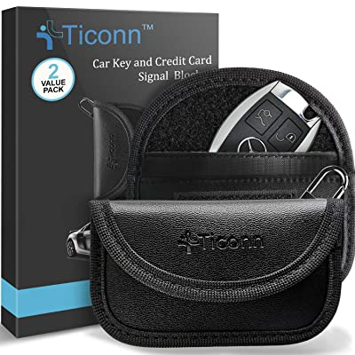 Mini Faraday Bag for Key Fob (2 Pack), TICONN Premium Faraday Cage Car Key Protector - RFID Signal Blocking, Anti-Theft Pouch, Anti-Hacking Case Blocker (PU Leather): Car Electronics