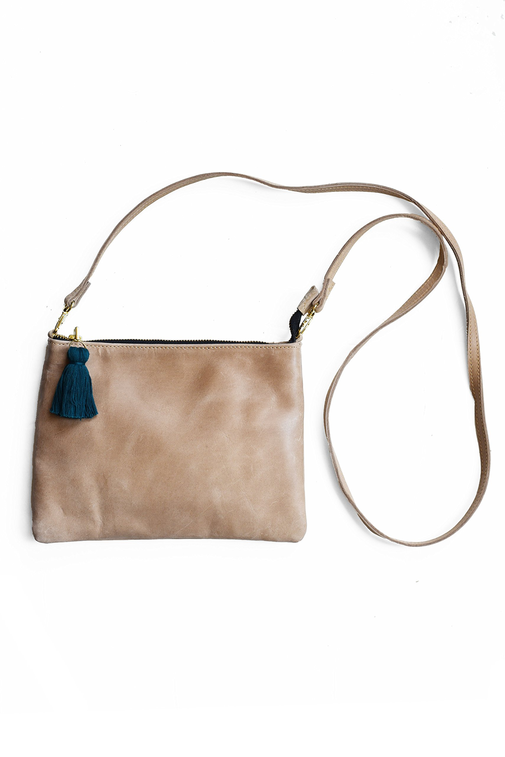 Purse & Clutch Convertible Leather Crossbody and Wristlet in Beige