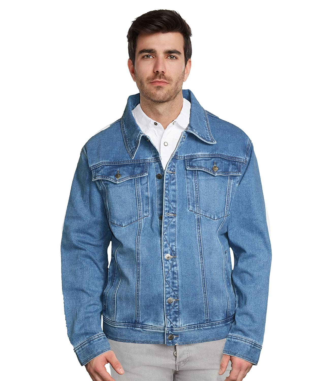 9 Crowns Men's Denim Trucker Blue Jean Jacket XL 2XL 3XL