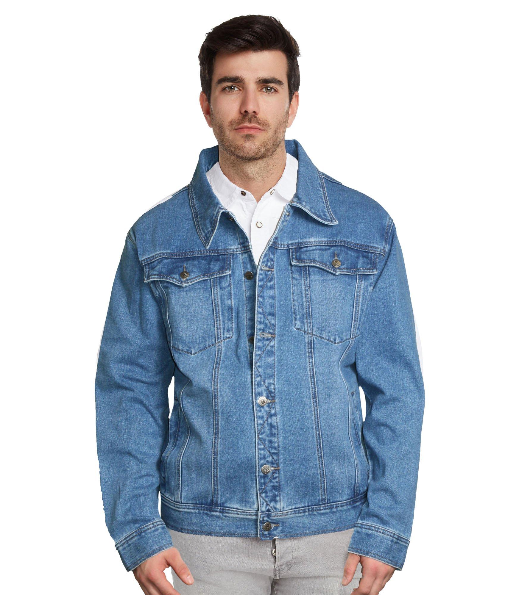 9 Crowns Men's Denim Trucker Blue Jean Jacket-Blue 1-XL