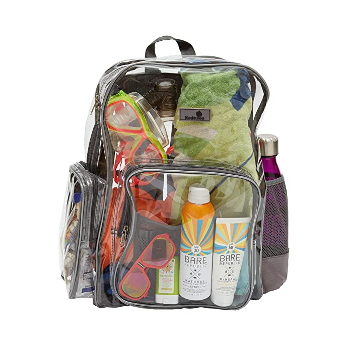 Amazon.com | Clear Bookbags - 6 COLORS - Drawstring Bag & Lanyard Included - Heavy Duty Clear Backpack - Security Backpack - See Through School Bag ...