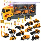 CUTE STONE 25 in 1 Construction Trucks Push and Go Car Carrier Truck Toy, Play Vehicles with Sounds and Lights, 12 Mini…