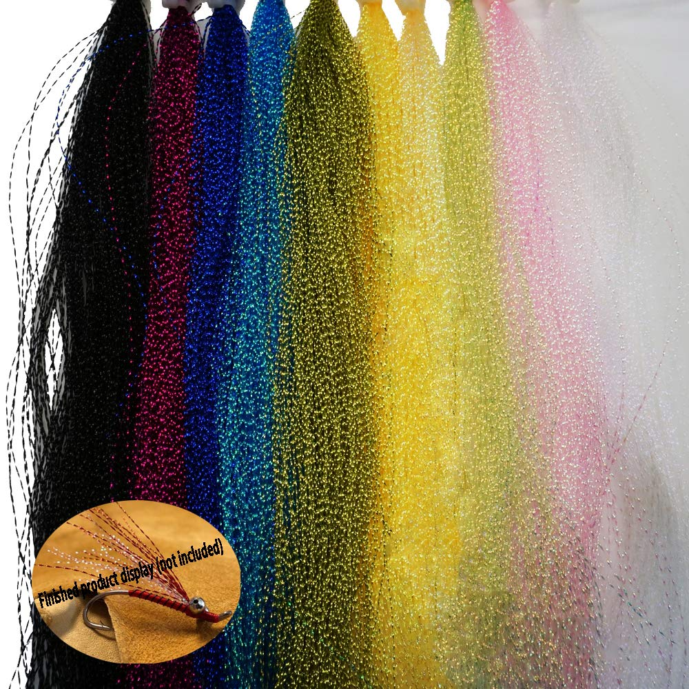 Greatfishing 10 Best Color/Set Sparkle Crystal Flash Flashabou Tinsels Fly Fishing Line Hook Lure Flash Flies Decorating Fly Tying Material Dry Flies