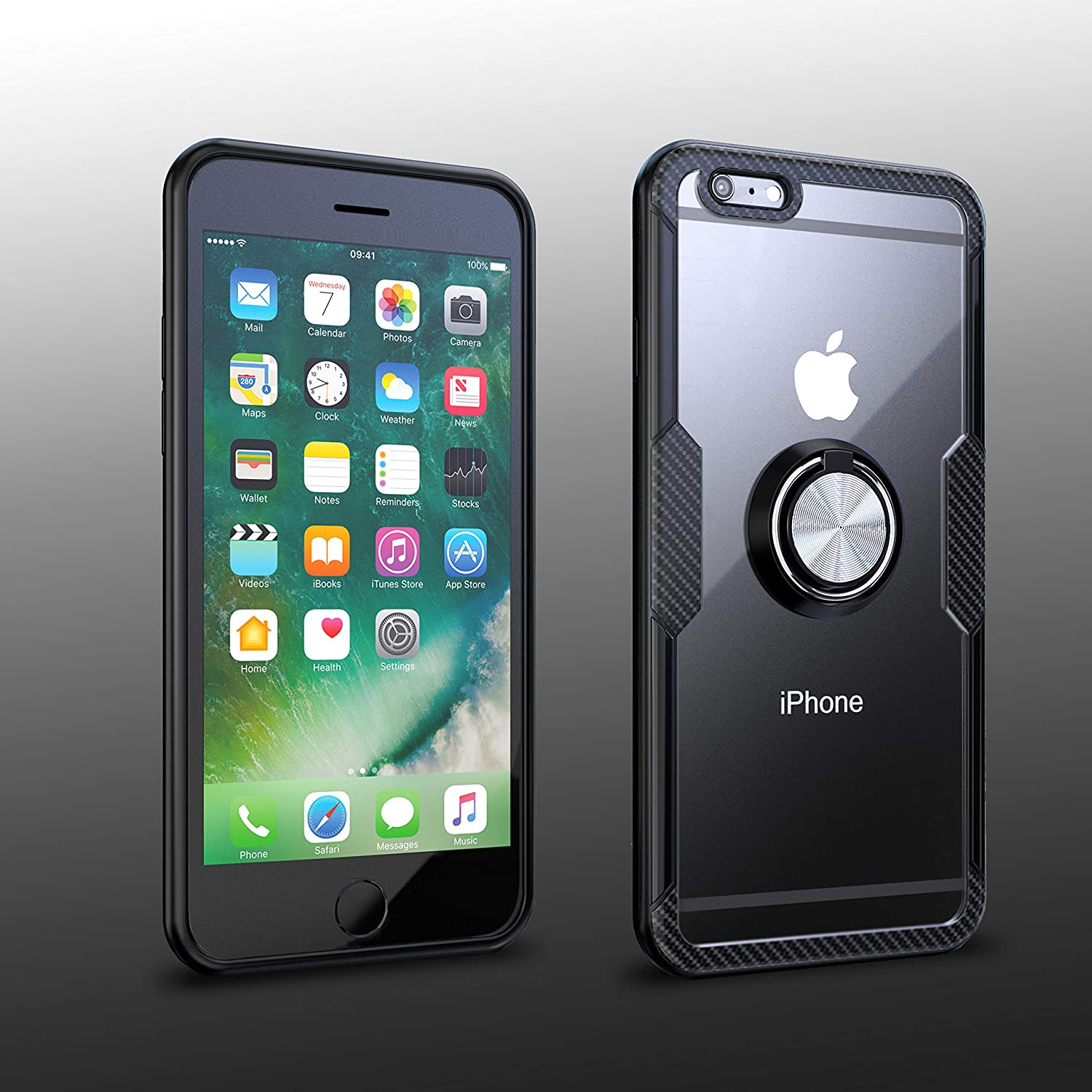 iPhone 6 Plus/iPhone 6S Plus Case   Transparent Crystal Clear Cover   Carbon Fiber Trim & Rubber Bumper   360° Rotating Magnetic Finger Ring  Kickstand   Compatible with iPhone 6+/iPhone 6S+ - Black