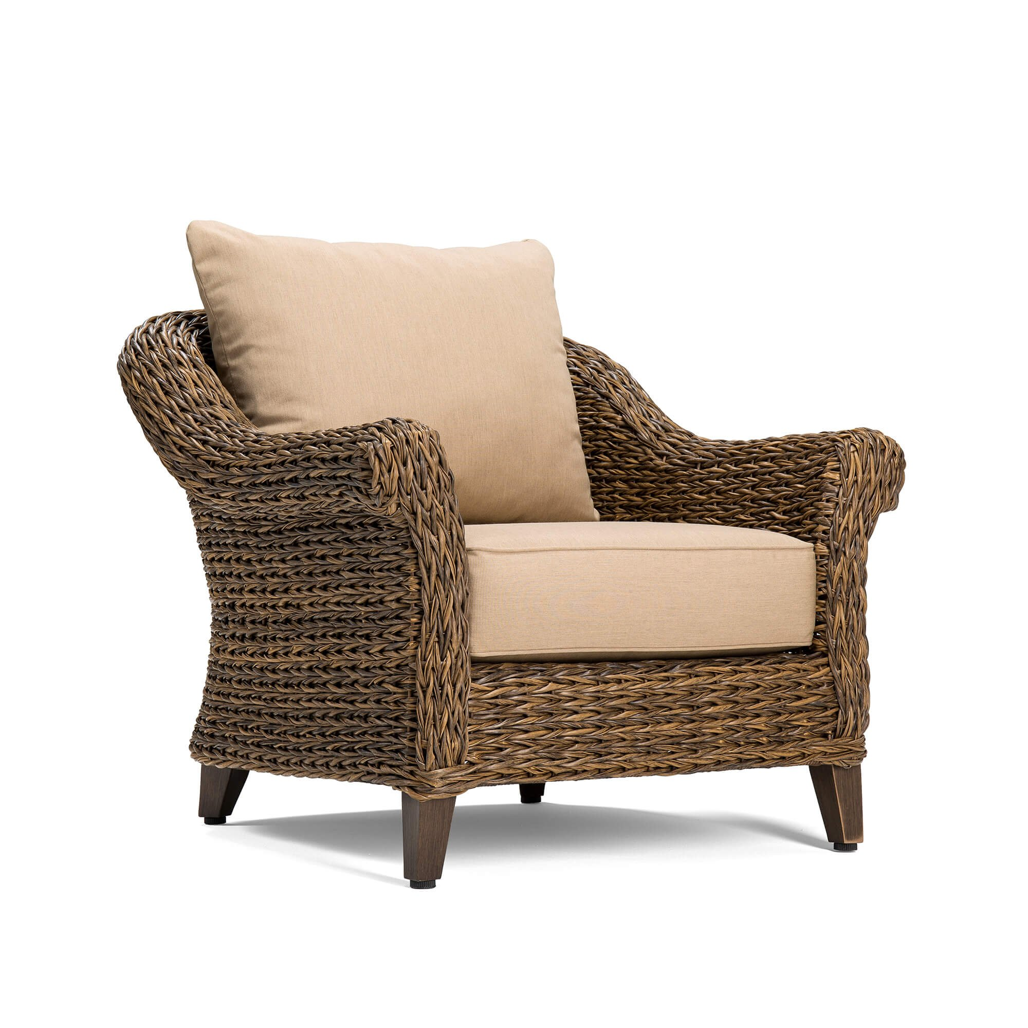 Blue Oak Outdoor Bahamas Patio Furniture Stationary Lounge Chair with Sunbrella Canvas Heather Beige Cushions