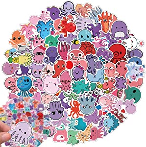 Cute Octopus Stickers Pack, 100 Pcs Laptop Stickers for Teens Kids Stickers for Water Bottle Waterproof Stickers Cool Stickers for Hydro Flask Computer