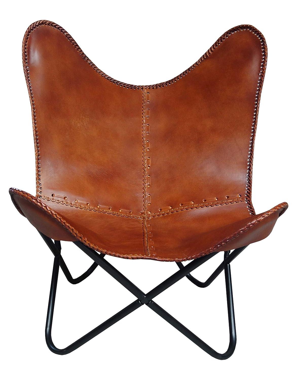 Bauhauschairs Butterfly Chair Spirit Leder Schmetterlingsstuhl (Cognac)