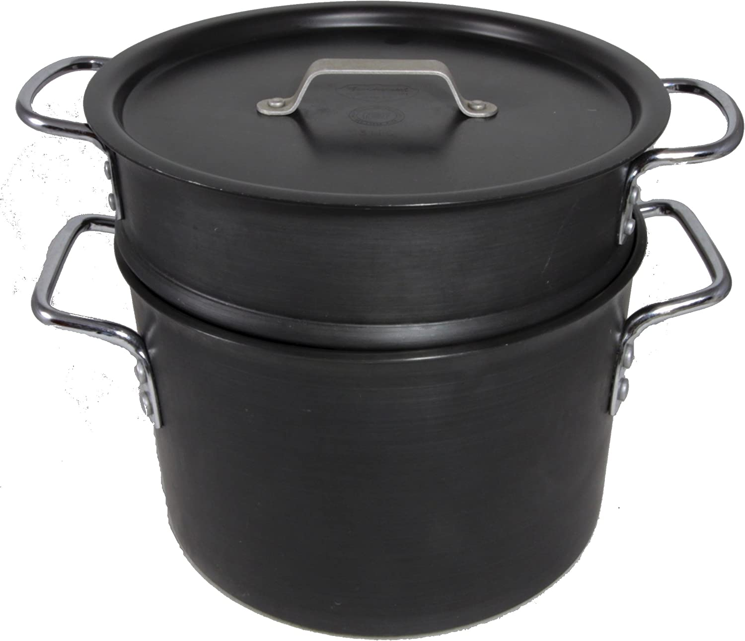 Commercial Aluminum Cookware Hard Anodized Dutch Oven, Double D-Handles, 8608 8-Quart, w/Insert and Lid