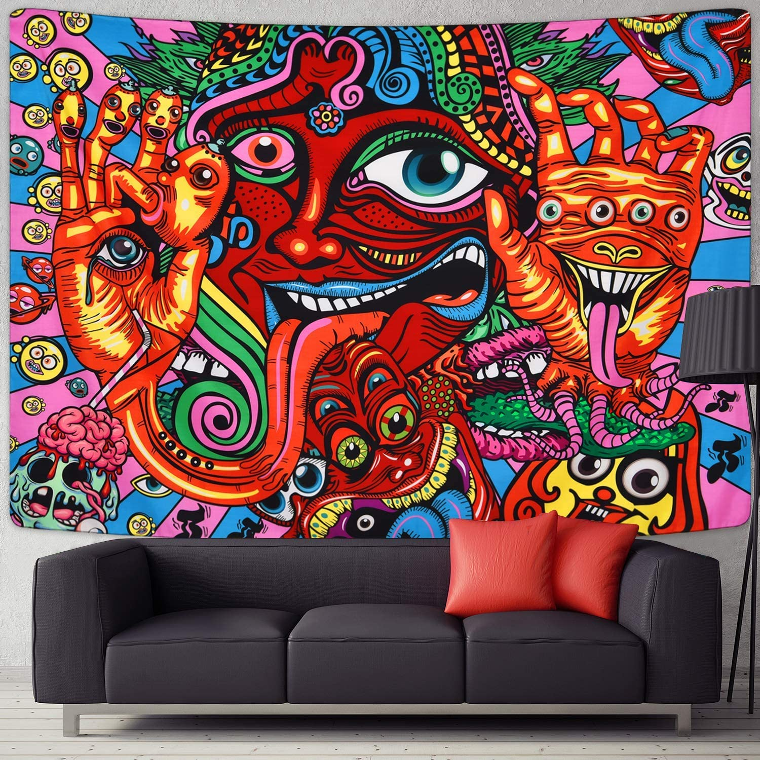 Lavay Psychedelic Arabesque Tapestry Bohemian Tapestry Wall Art Multiple Color Hippie Tapestry Abstract Tapestry Fantasy Fractal Tapestry For Meditation Bedroom Living Room Decor Multicolor 59 L X 79 W Amazon Ca Home Kitchen