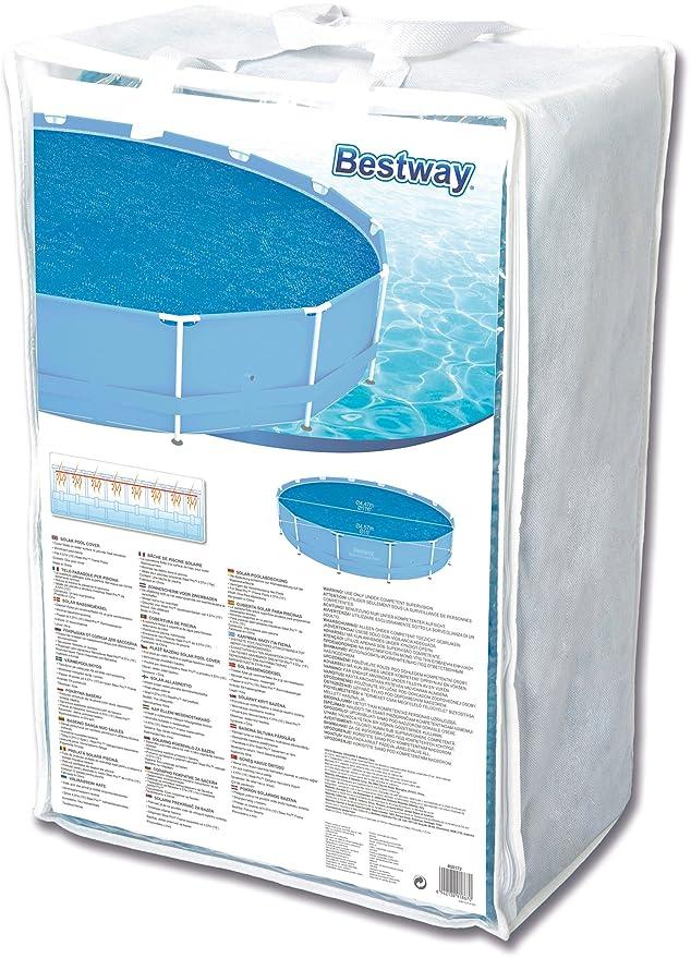Bestway 58172 - Cobertor solar Manta Térmica para piscinas Steel Pro redondas de 457 cm de diámetro: Amazon.es: Jardín