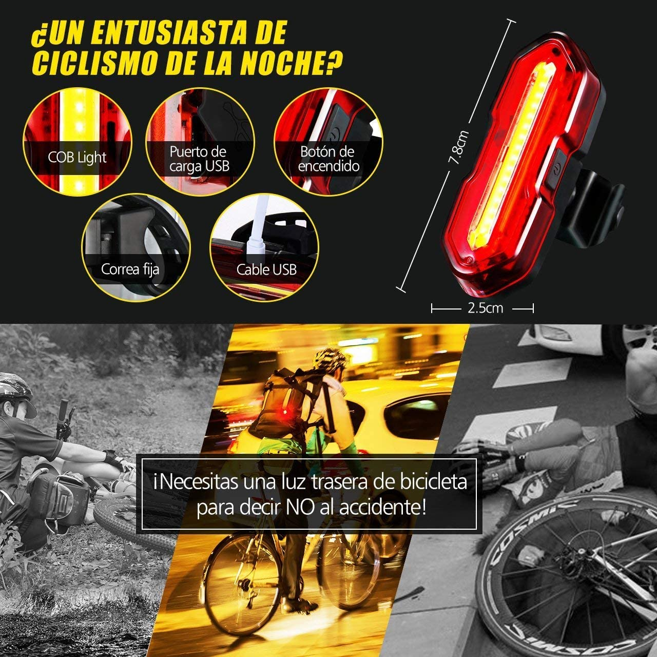 TOPELEK Luz LED Trasera Bicicleta Potente [2 Paquetes] Luz Trasera ...