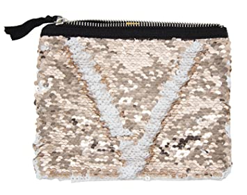 87dc9b9c79c5 Amazon.com   StylesILove Womens Girls Flip Sequin Makeup Bag Reversible Mermaid  Sequin Tow Tone Sequin Cosmetic Case Multi-use Pouch (White+Peach)   Beauty