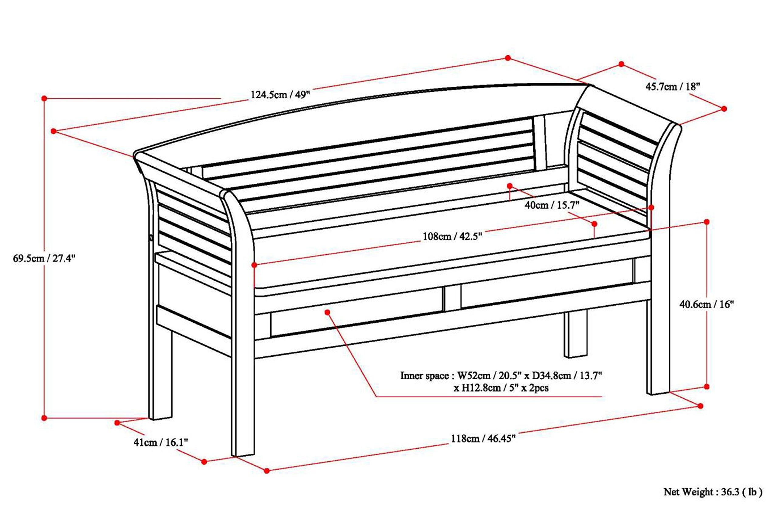 Simpli Home Arlington Solid Wood Entryway Storage Bench, Medium Rustic Brown by Simpli Home (Image #8)