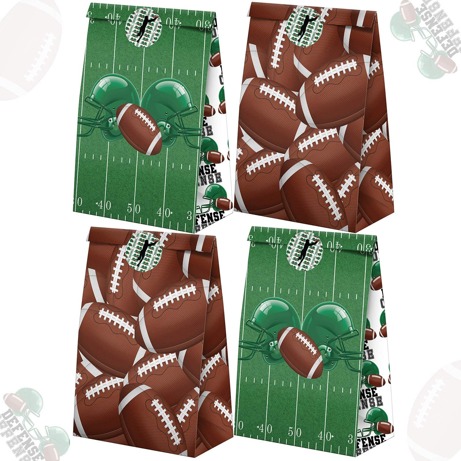Football Party Favor 10 Pack 10 Assorted Football Cards Per Pack Creative HASSLE FREE Pre Assembled Gift Bags Kids Party Supplies